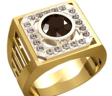 Мужской перстень с камнями на заказ в Санкт-Петербурге